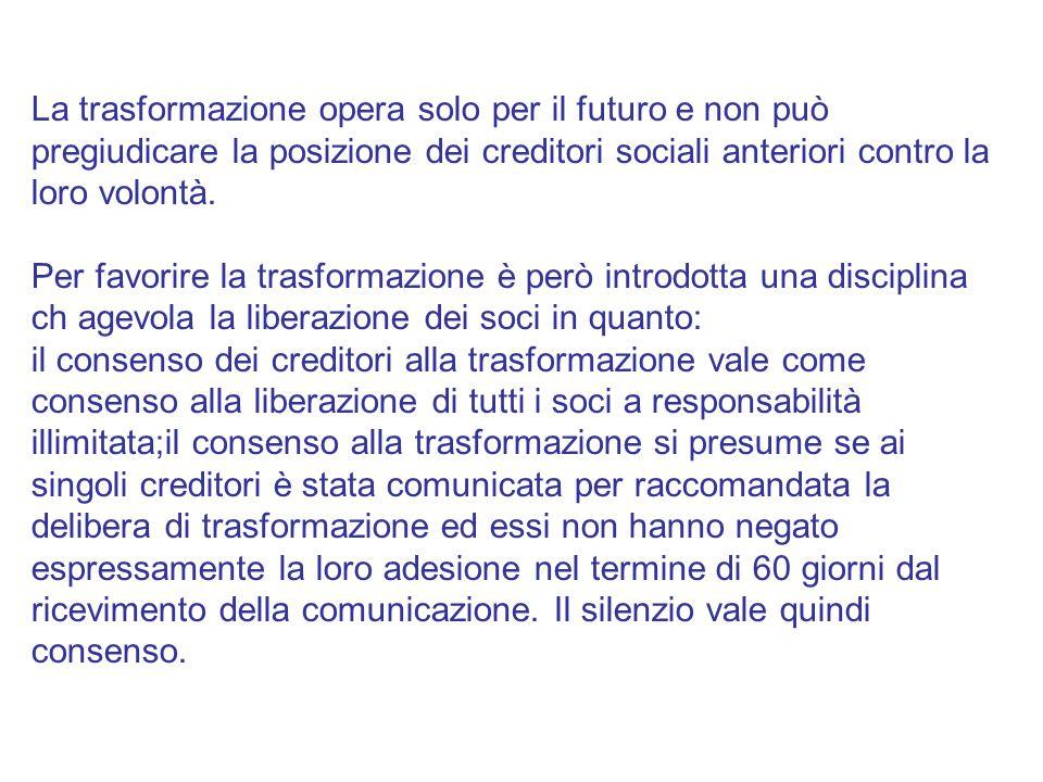 La trasformazione opera solo per il futuro e non può pregiudicare la posizione dei creditori sociali anteriori contro la loro volontà.