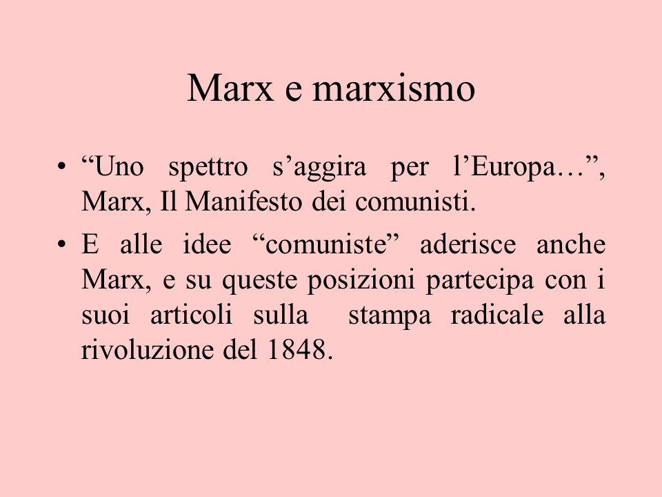 Marx e marxismo Uno spettro s'aggira per l'Europa… , Marx, Il Manifesto dei comunisti.