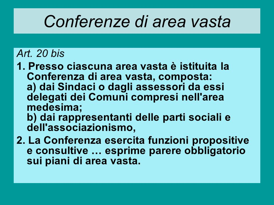 Conferenze di area vasta
