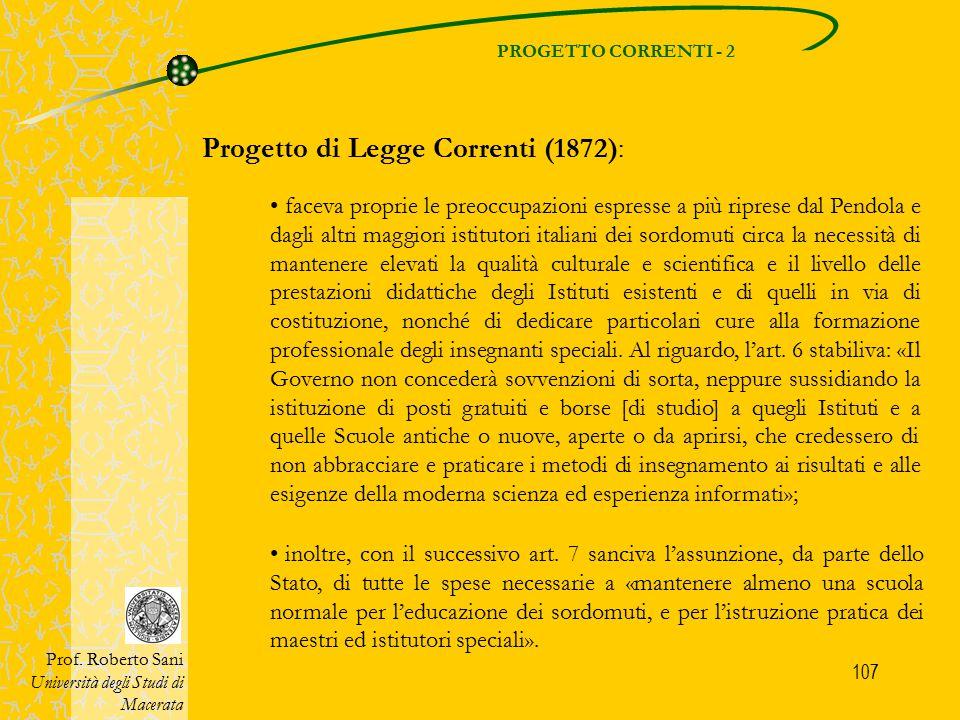 Progetto di Legge Correnti (1872):