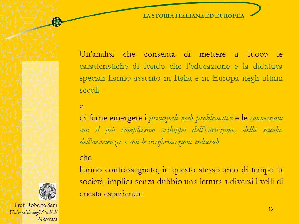LA STORIA ITALIANA ED EUROPEA