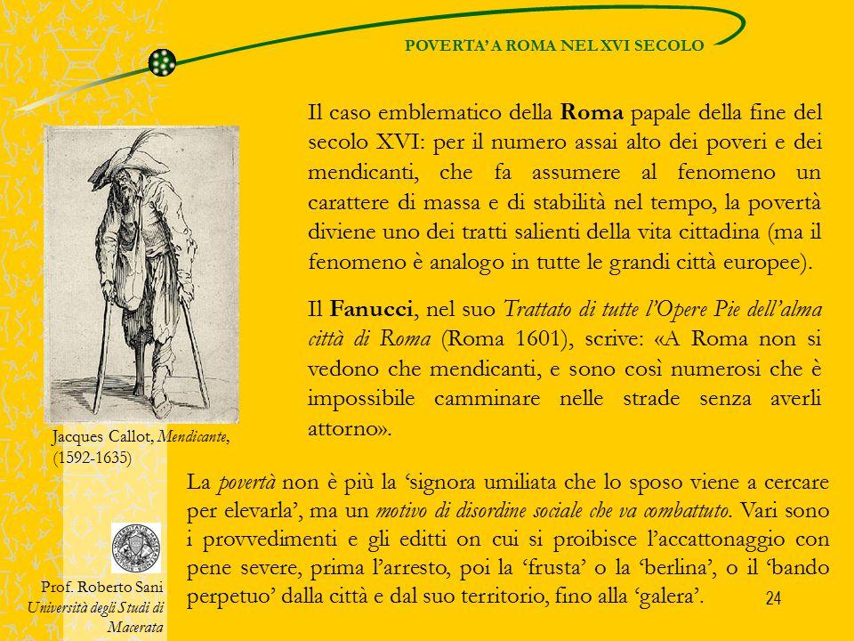 POVERTA' A ROMA NEL XVI SECOLO