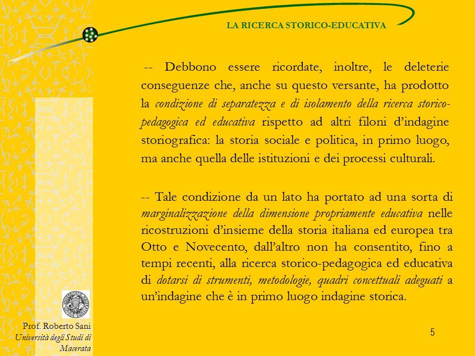 LA RICERCA STORICO-EDUCATIVA