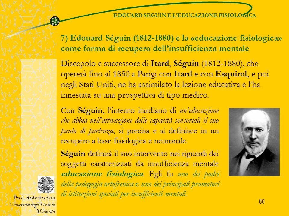 EDOUARD SEGUIN E L'EDUCAZIONE FISIOLOGICA