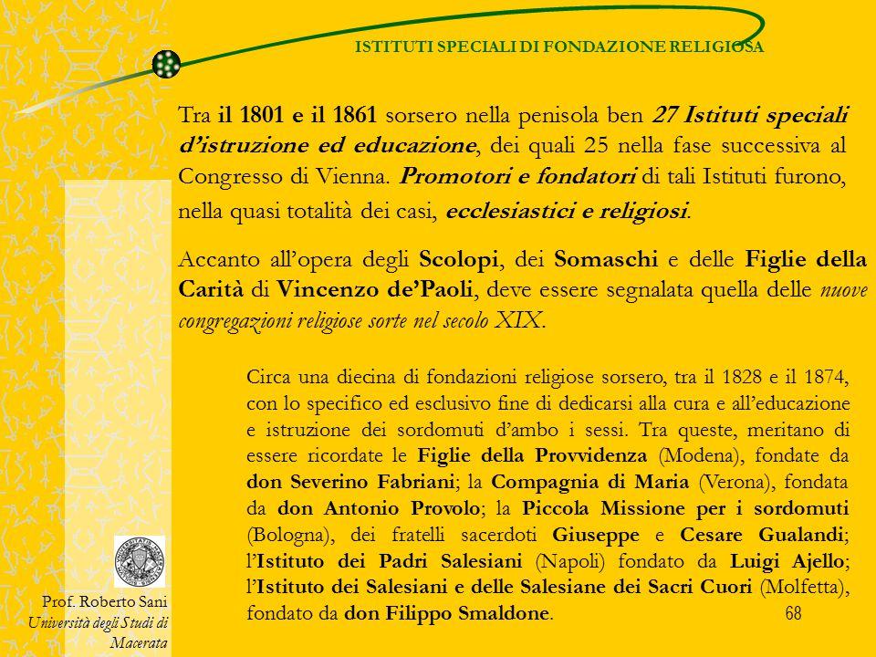 ISTITUTI SPECIALI DI FONDAZIONE RELIGIOSA