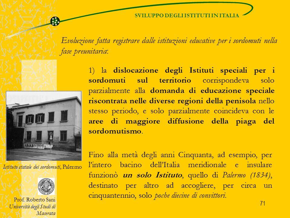 SVILUPPO DEGLI ISTITUTI IN ITALIA