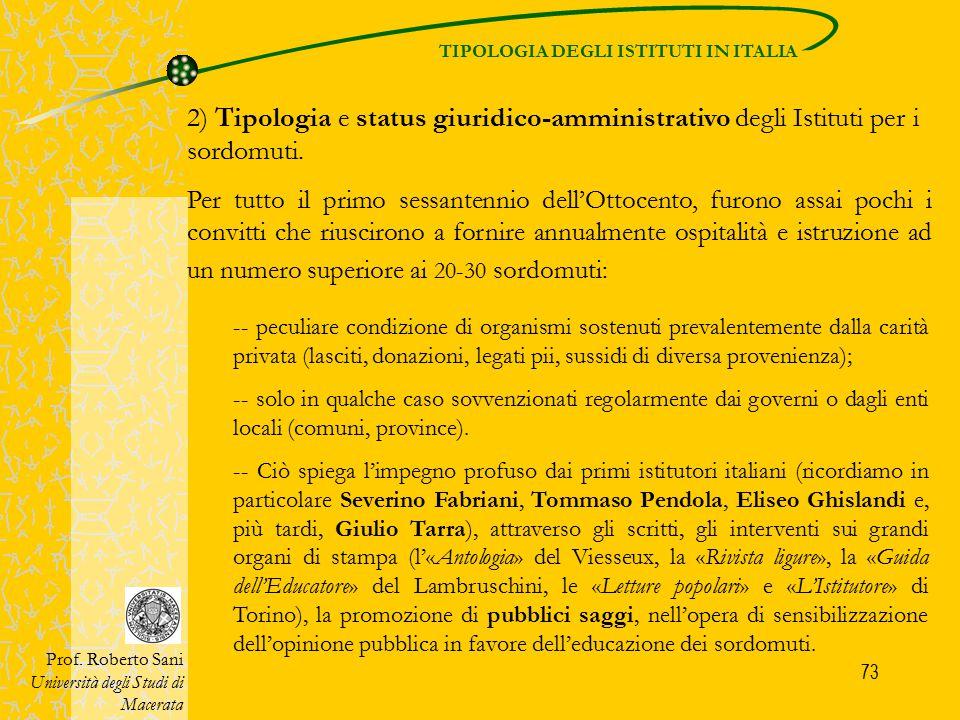 TIPOLOGIA DEGLI ISTITUTI IN ITALIA