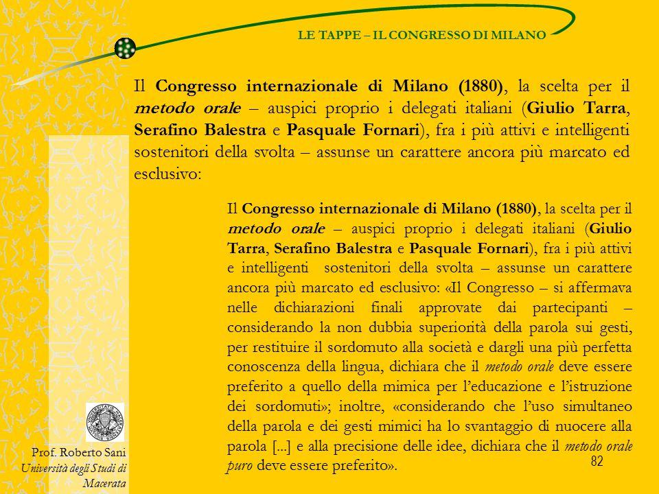 LE TAPPE – IL CONGRESSO DI MILANO