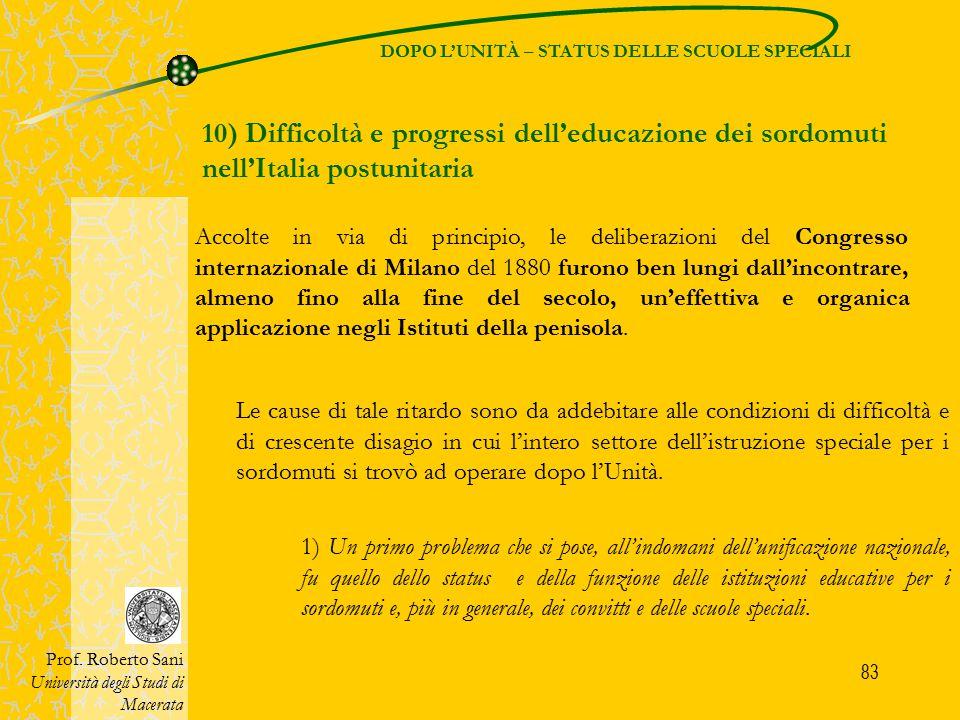 DOPO L'UNITÀ – STATUS DELLE SCUOLE SPECIALI