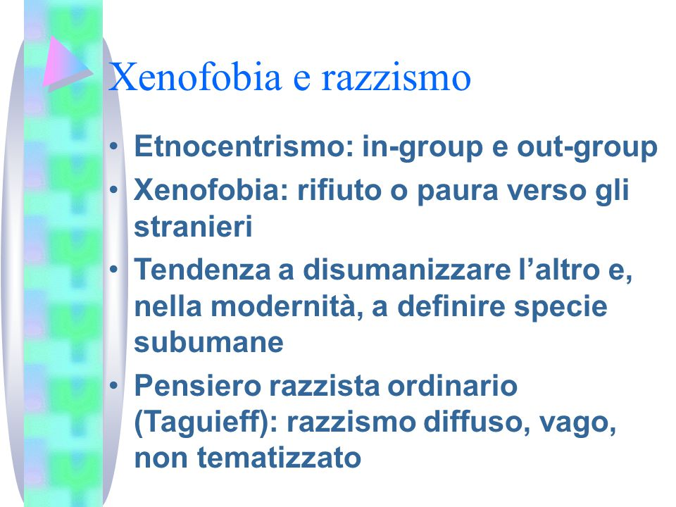 Xenofobia e razzismo Etnocentrismo: in-group e out-group