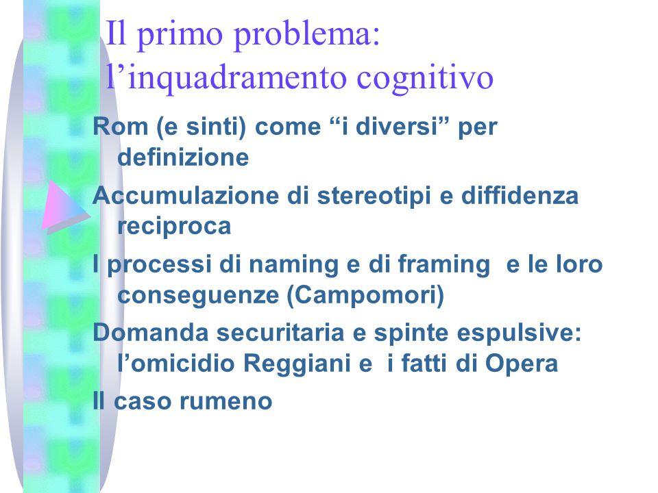 Il primo problema: l'inquadramento cognitivo