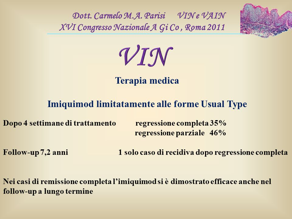 Imiquimod limitatamente alle forme Usual Type