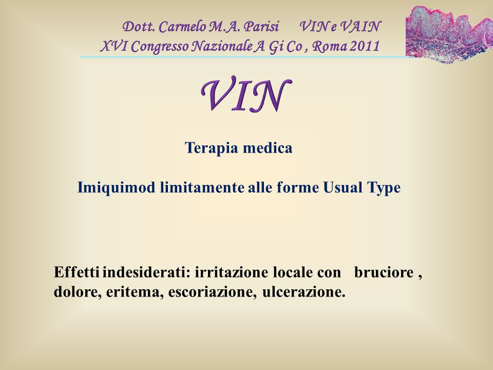 Imiquimod limitamente alle forme Usual Type