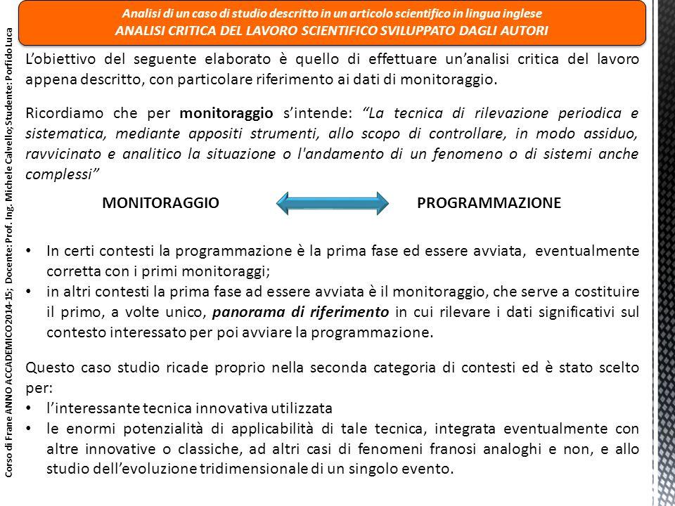 MONITORAGGIO PROGRAMMAZIONE