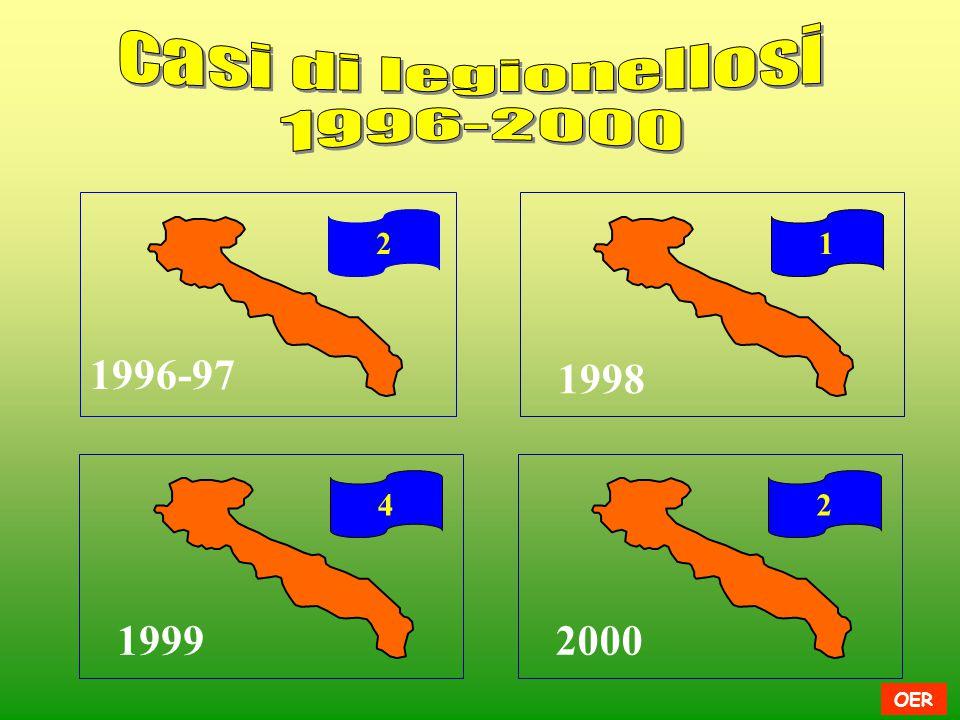 casi di legionellosi 1996-2000 2 1 1996-97 1998 4 2 1999 2000 OER