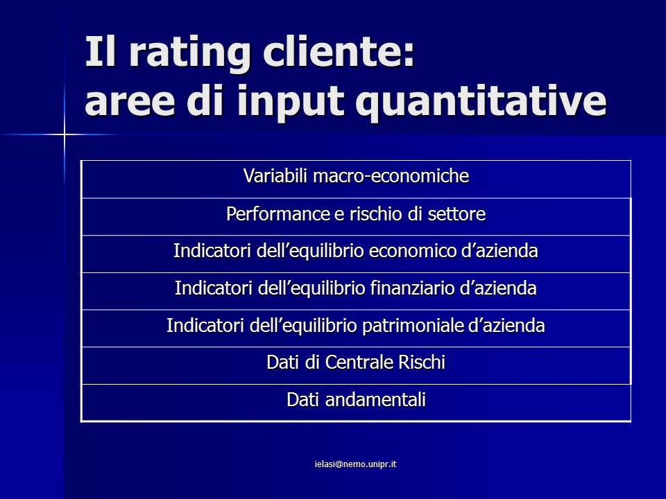 Il rating cliente: aree di input quantitative