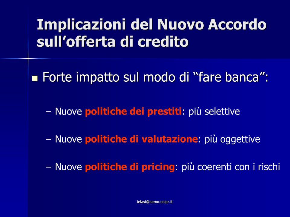 Implicazioni del Nuovo Accordo sull'offerta di credito
