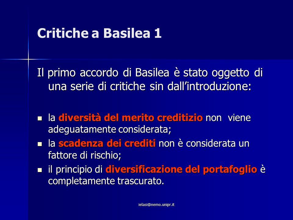 Critiche a Basilea 1 Il primo accordo di Basilea è stato oggetto di una serie di critiche sin dall'introduzione: