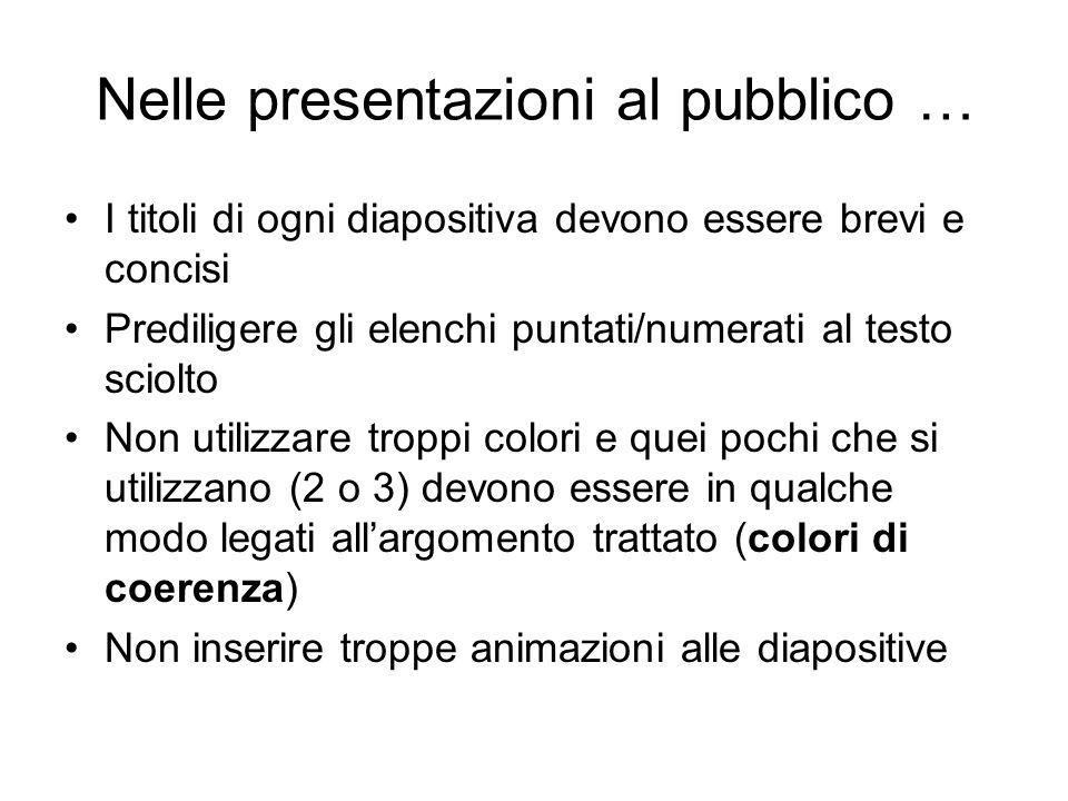 Nelle presentazioni al pubblico …