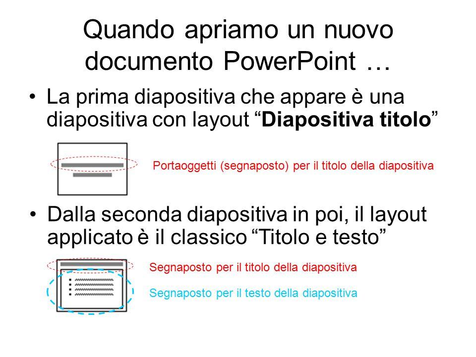 Quando apriamo un nuovo documento PowerPoint …