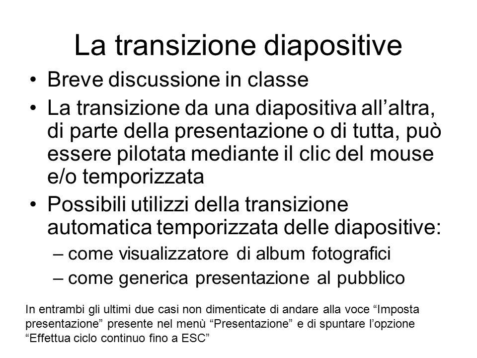 La transizione diapositive