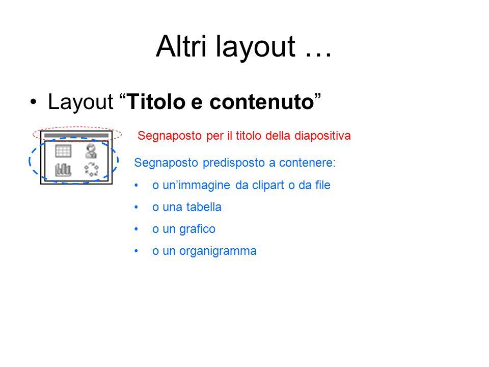 Altri layout … Layout Titolo e contenuto