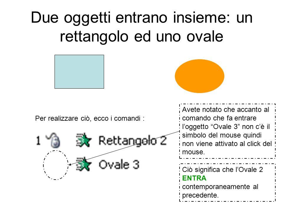 Due oggetti entrano insieme: un rettangolo ed uno ovale