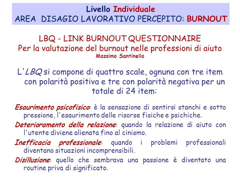 AREA DISAGIO LAVORATIVO PERCEPITO: BURNOUT