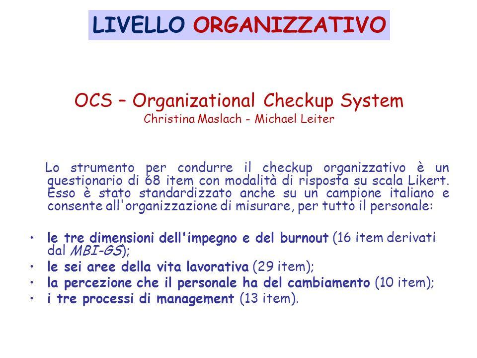 OCS – Organizational Checkup System Christina Maslach - Michael Leiter