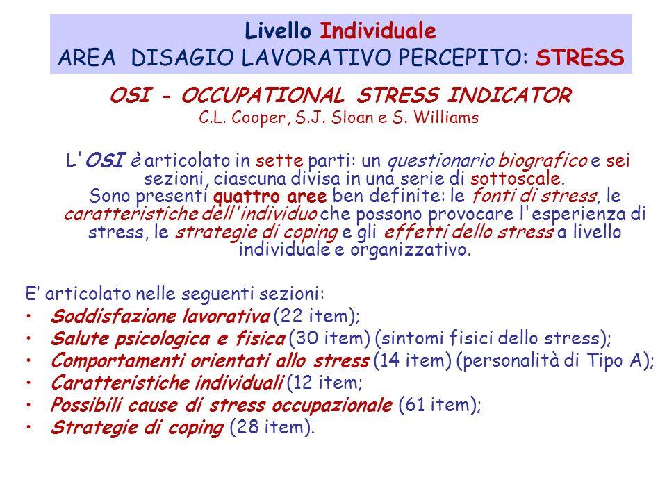AREA DISAGIO LAVORATIVO PERCEPITO: STRESS
