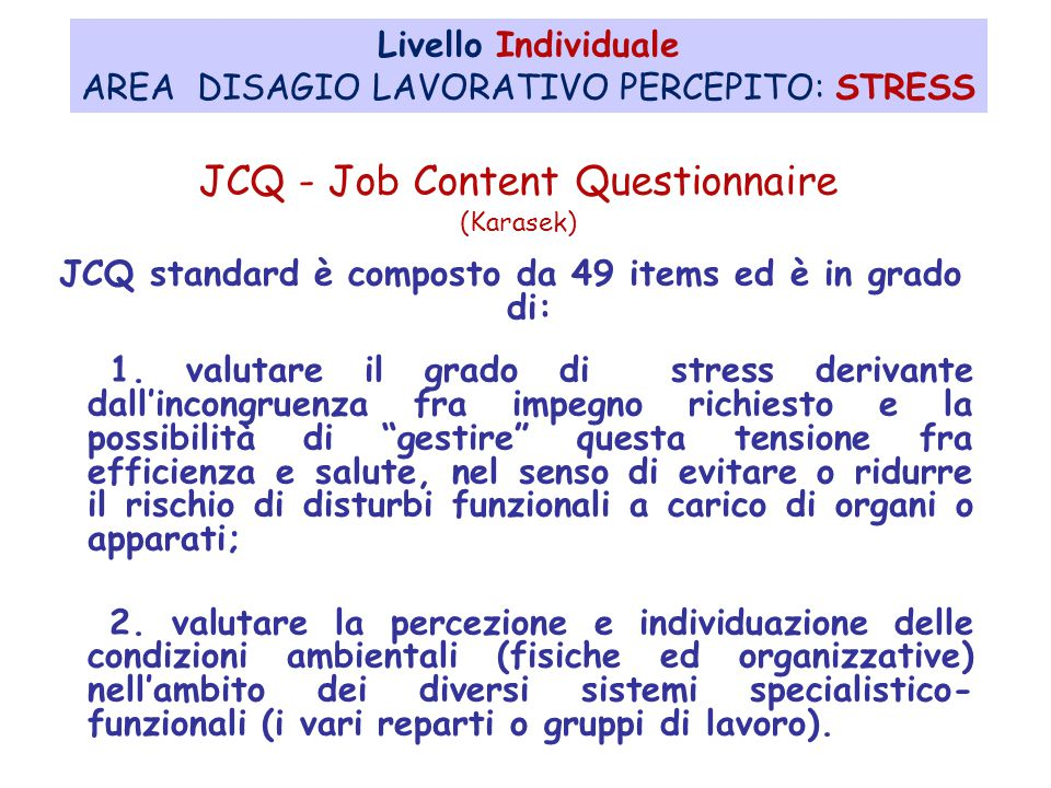 JCQ - Job Content Questionnaire (Karasek)