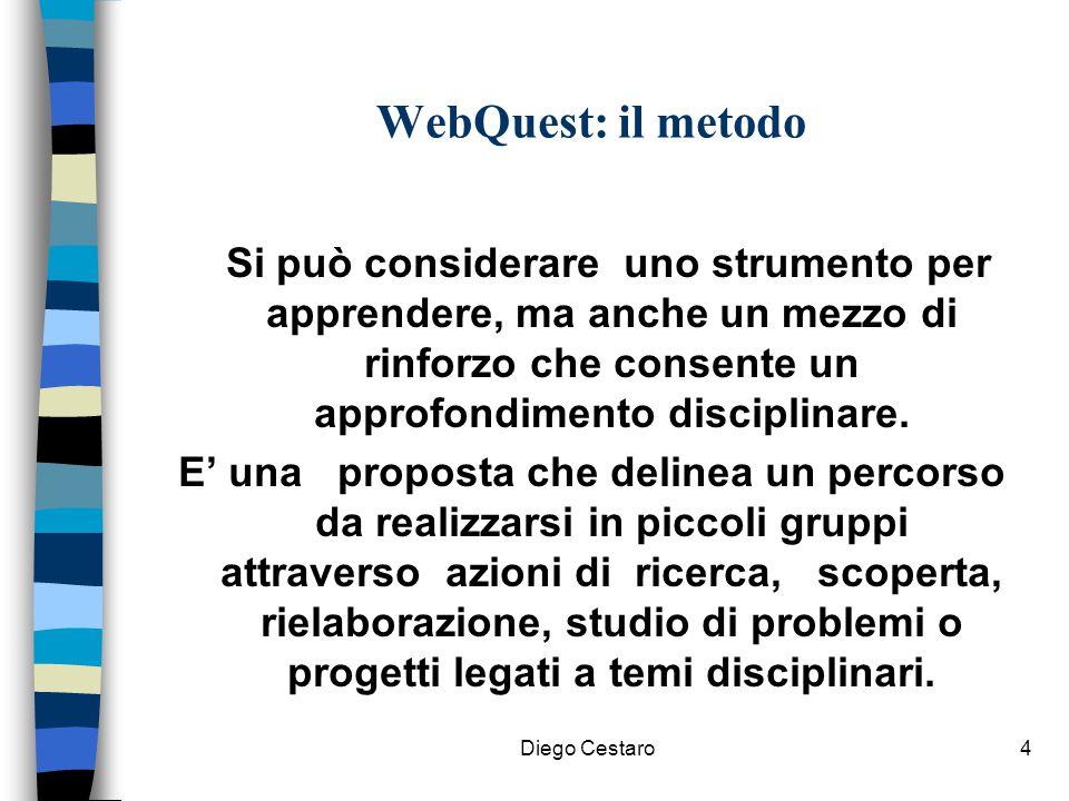 WebQuest: il metodo Si può considerare uno strumento per apprendere, ma anche un mezzo di rinforzo che consente un approfondimento disciplinare.