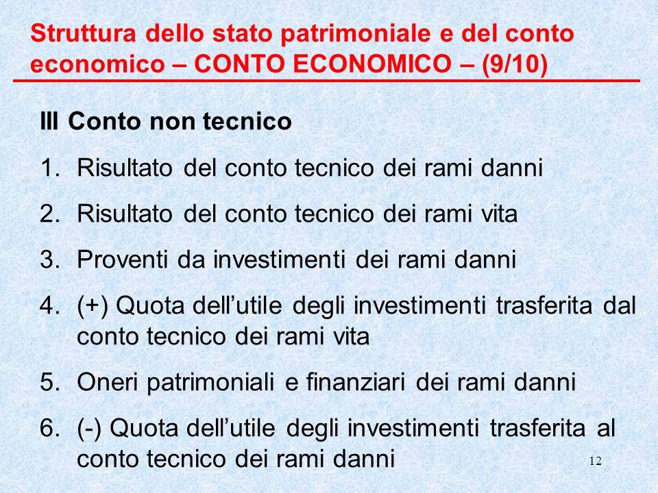 Struttura dello stato patrimoniale e del conto economico – CONTO ECONOMICO – (9/10)