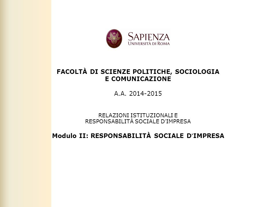 Modulo II: RESPONSABILITÀ SOCIALE D'IMPRESA