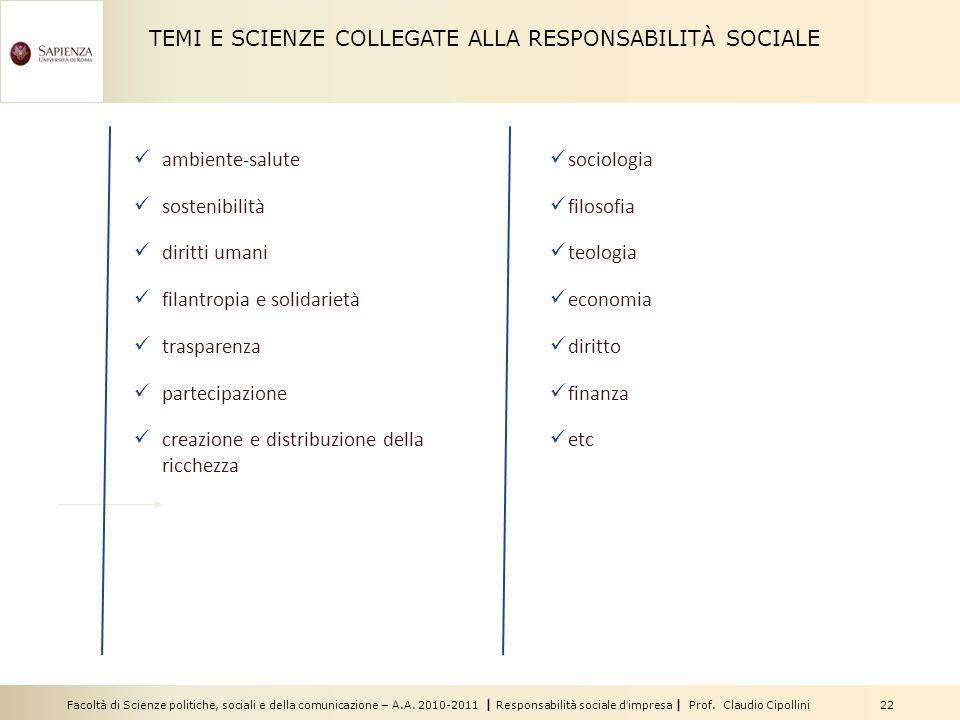 TEMI E SCIENZE COLLEGATE ALLA RESPONSABILITÀ SOCIALE