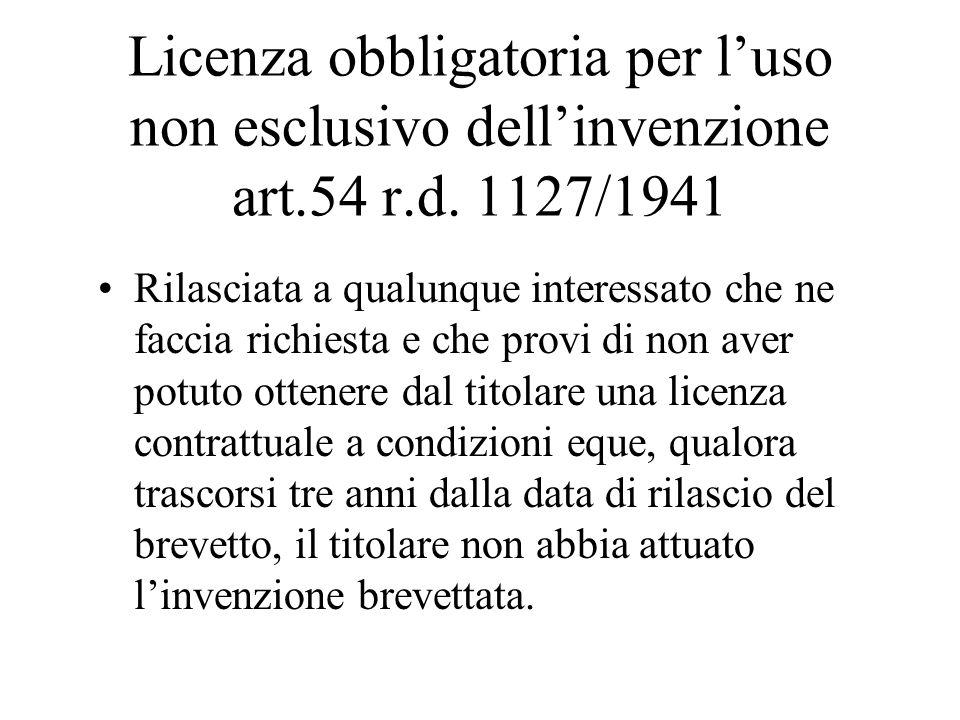 Licenza obbligatoria per l'uso non esclusivo dell'invenzione art. 54 r