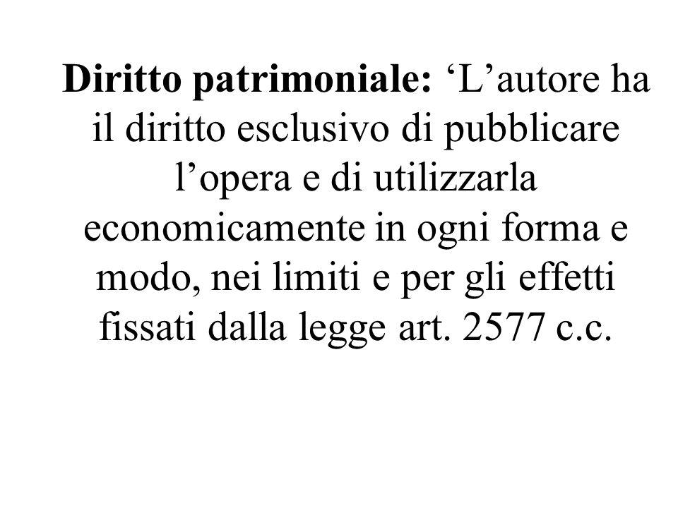 Diritto patrimoniale: 'L'autore ha il diritto esclusivo di pubblicare l'opera e di utilizzarla economicamente in ogni forma e modo, nei limiti e per gli effetti fissati dalla legge art.