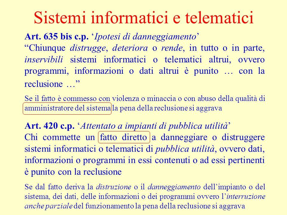 Sistemi informatici e telematici