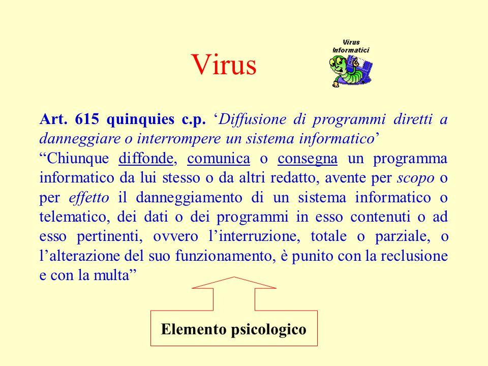 Virus Art. 615 quinquies c.p. 'Diffusione di programmi diretti a danneggiare o interrompere un sistema informatico'