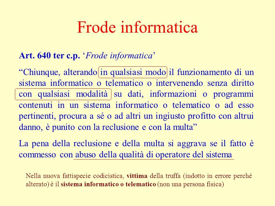 Frode informatica Art. 640 ter c.p. 'Frode informatica'