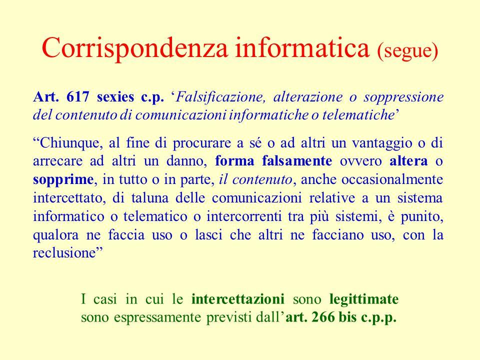 Corrispondenza informatica (segue)