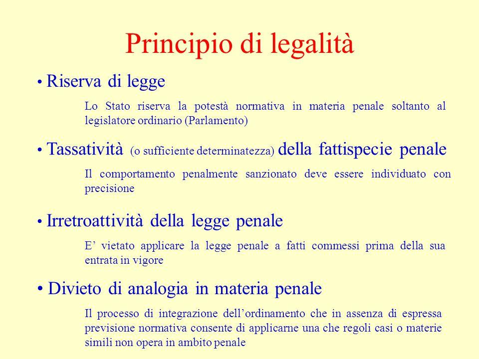 Principio di legalità Divieto di analogia in materia penale
