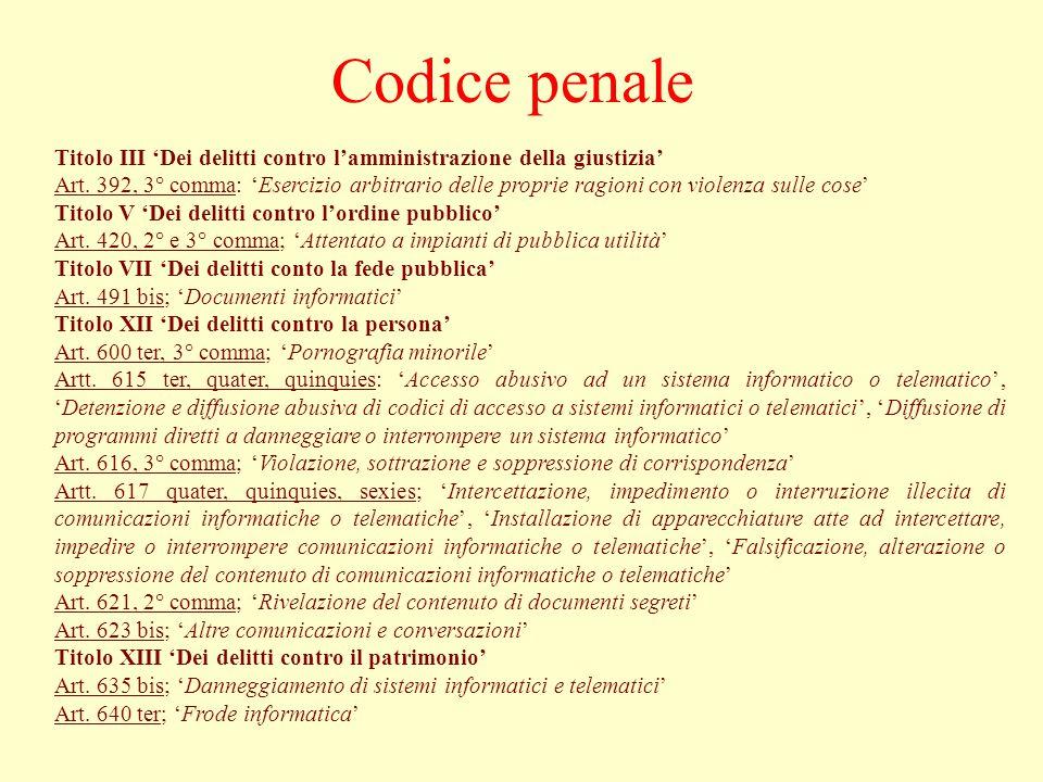 Codice penale Titolo III 'Dei delitti contro l'amministrazione della giustizia'