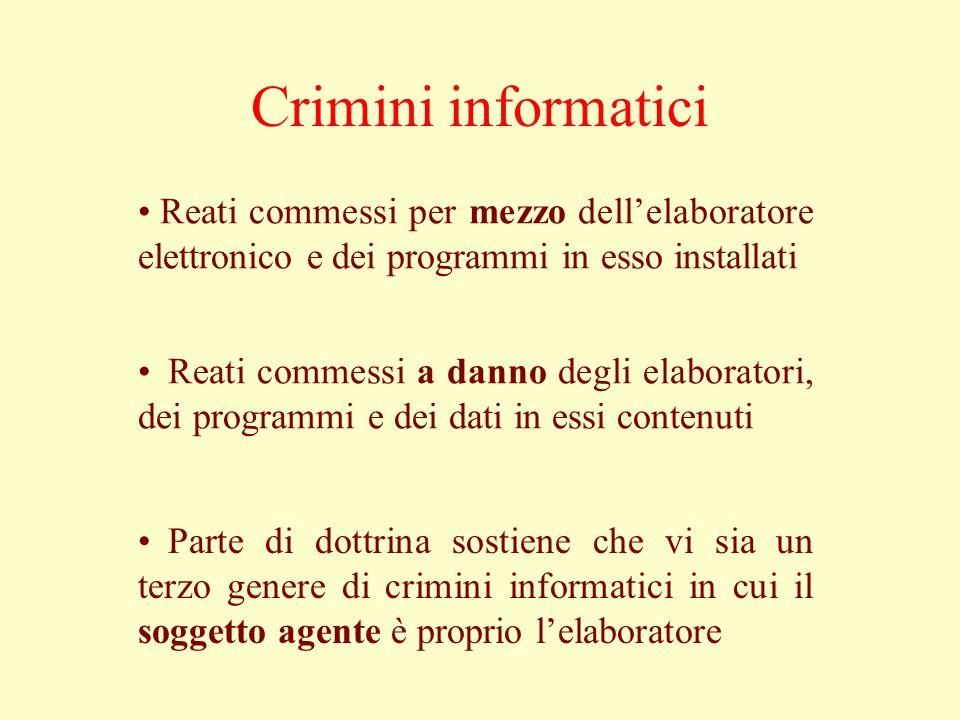 Crimini informatici Reati commessi per mezzo dell'elaboratore elettronico e dei programmi in esso installati.