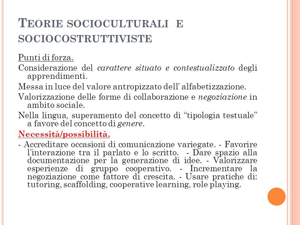 Teorie socioculturali e sociocostruttiviste
