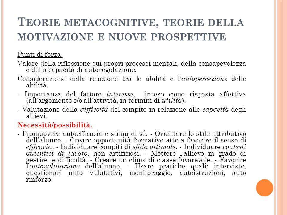 Teorie metacognitive, teorie della motivazione e nuove prospettive