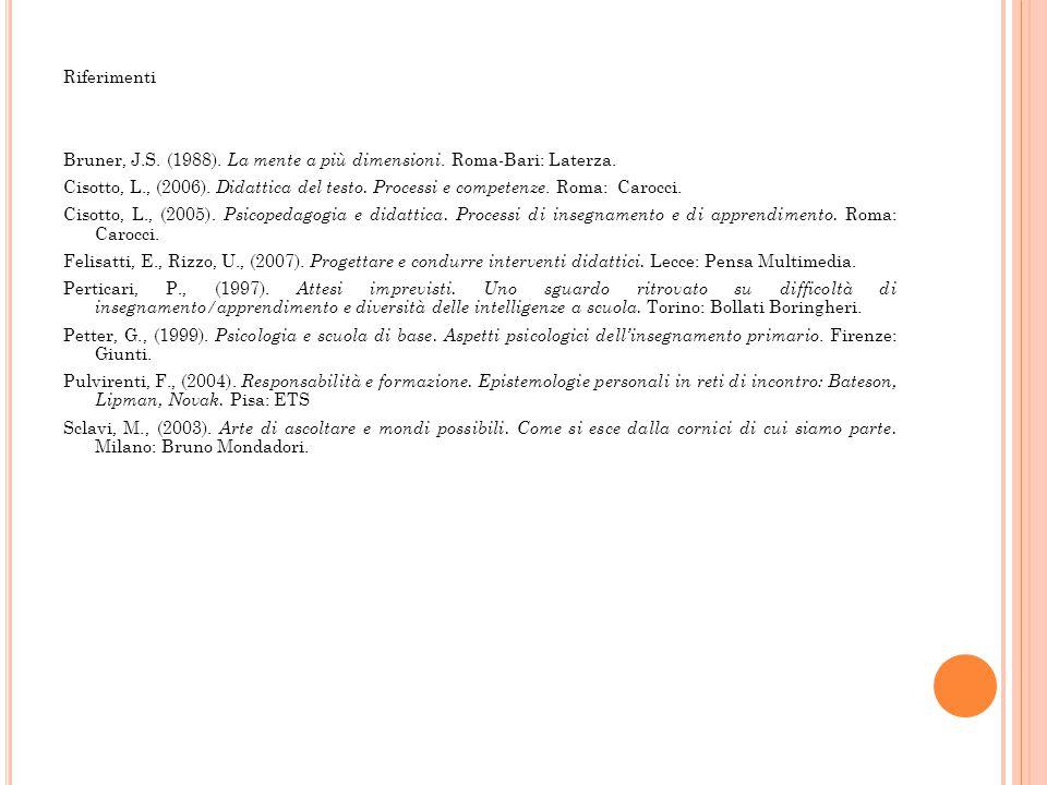 Riferimenti Bruner, J. S. (1988). La mente a più dimensioni