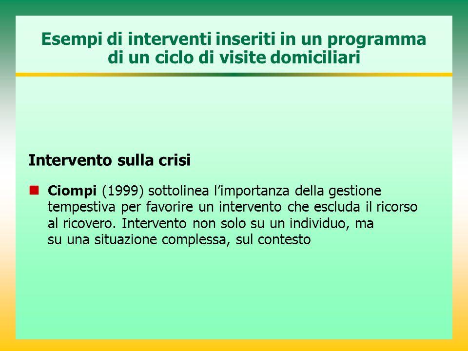 Esempi di interventi inseriti in un programma di un ciclo di visite domiciliari