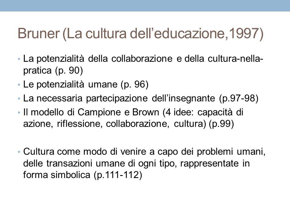Bruner (La cultura dell'educazione,1997)