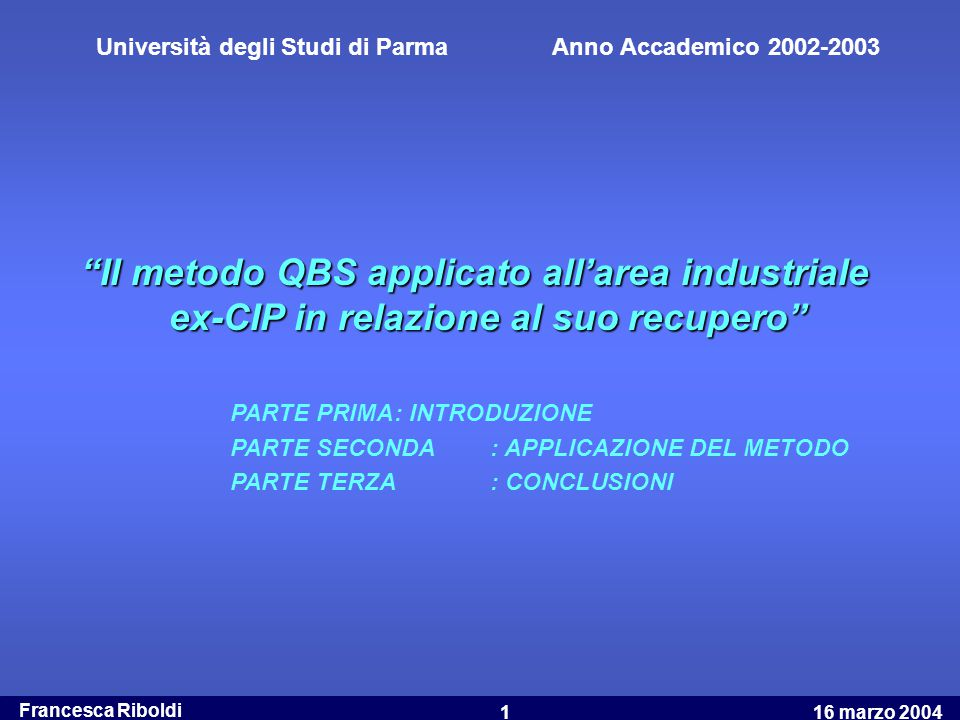 Università degli Studi di Parma Anno Accademico 2002-2003